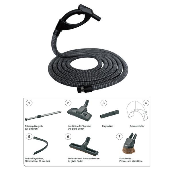 Zentralstaubsauger Schlauch Set mit FLEX-Saugschlauch und Arbeitszubehör 8-teilig